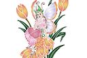 Трафарет Фея в тюльпанах