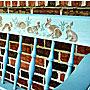 Кролики на лавочке